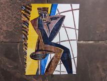 "Yvan Theys ""De Denker"", originele houtsnede uit 1986"